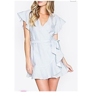 Sugarlips striped ruffle wrap dress